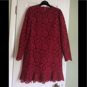💯 Authentic Valentino Lace cranberry dress